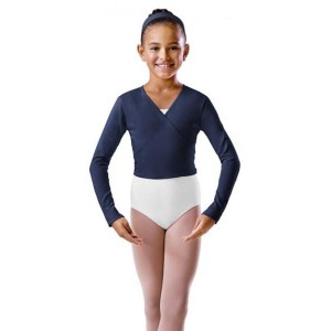 Girls Crossover Longsleeve Wrap Top-Navy