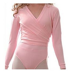 Girls Crossover Longsleeve Wrap Top-Pink